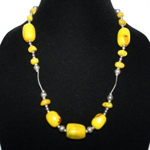 Silver and yellow stone toggle necklace 20""